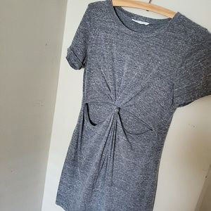 UO knotted CUTOUT shirt dress